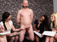 cfnm femdoms humiliating ballgagged guy – Free Porn Video