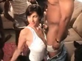 Difficult team fuck having a busty brunette slut that is ni