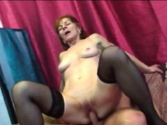 sexy brunette granny fucking long shaft on couch