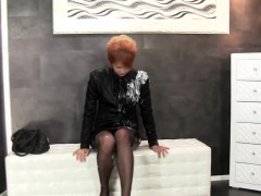 redhead dresses up for a dildo