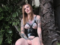 Inked Outdoor Tranny Pulling Her Cock Closeup