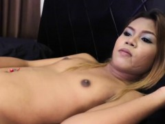 ladyboy-strips-before-wanking-dick-on-bed