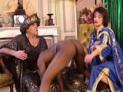 african slut sucks and gets fisted in threesome