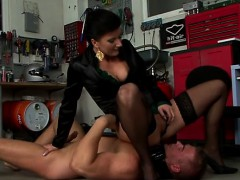 female-dominator blows and rides slave