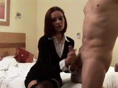 redhead-cfnm-femdom-spanking-perverts-ass