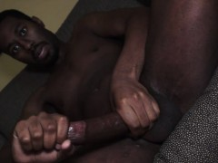 Kinky Black Stud Jerks Off Into His Own Mouth