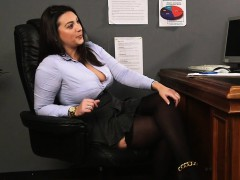 sexy brit voyeur teases cfnm sub from desk