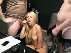 Slut Blonde Plays With 2 Cocks At The Same Time Two