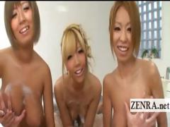 naughty-tan-busty-japan-gyaru-soapland-group-foreplay
