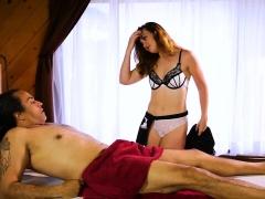 Pretty masseuse Kat Monroe pussy slammed in the bedroom