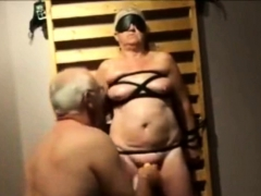 slave grandma lia 60 tied and toyed