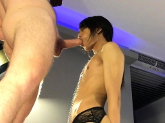 Handcuffed Ladyboy Gives A Blowjob To A Hung White Guy
