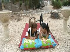 schoolmates-eating-pussies-in-the-garden