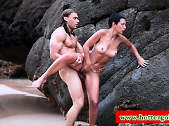 Latina Babe Pounded Hard In Tight Ass On Beach