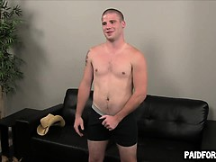 Straight Hunk Tugging On His Hard Cock For Money