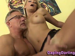 Babe Gets A Cumshot From Old Guy