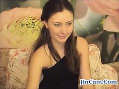 Gorgeous Hairypussy Brunette Masturbates On Webcam