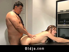 oldman-fucks-young-leila-on-the-kitchen-table