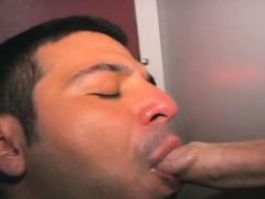 Hot guys get cock sucks through hole