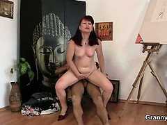Oldie Likes Painting And Hard Cocks