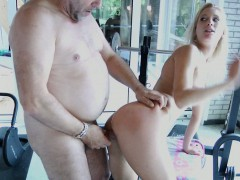 Lucky Older Guy Bonks Sexy Young Blonde At The Pool