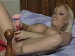 Blonde Bitch In Pantyhose Masturbates