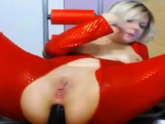 Red Pvc Bodystocking Dildoes Ass 3