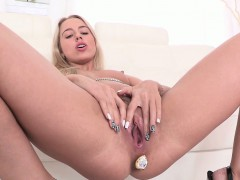 Big Taco Blonde Pissing With Toy In Ass