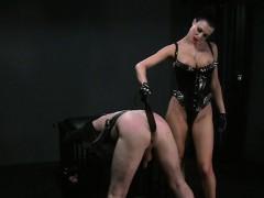 Busty Mistress Spanking Dude In Bdsm Bondage Flogging