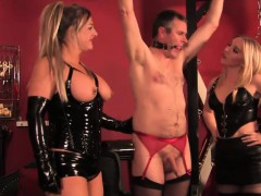 Three Latex Femdoms Dominate Some Sissy Dude