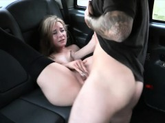 Petite Blond In Pull Up Stockings Fucked The Driver For Free