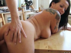 Step son Caught Mother Naked In Kitchen And Seduce Fuck
