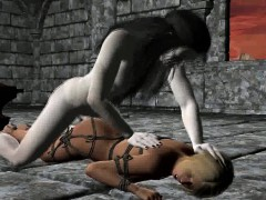 Tied Up 3d Blonde Sucks Cock And Gets Fucked Hard
