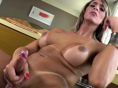 Lactating Shemale Jerking Cock