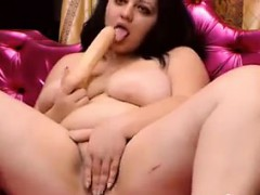 Horny Fatty Rubs Her Pussy