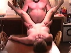 Officemate Fucking My Wife On Our Kitchen Table