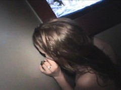 Nineteen Year Old Cathy Blows Perverts In The Gloryhole