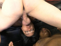 Two Black Chicks Getting Face Fucked Brutally Hard On Sofa