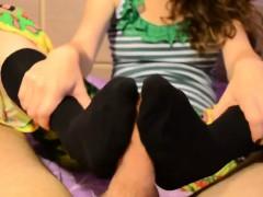 black-kneehigh-sockjob-with-cumshot