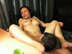 Adorable Asian Wife With Nice Boobs Has Her Man Eating Out