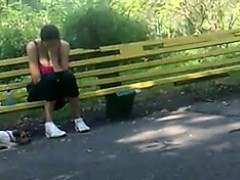 He Films A Gal Sitting On A Bench And Has His Dick Out Whil