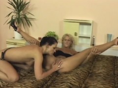 Sultry Brunette Fucks Her Blonde Lesbian Lover With A Strap on Dildo