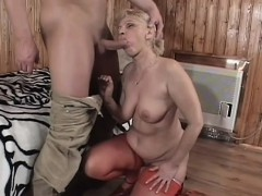 Busty Granny Gets Fingered, Blows His Rod And Gets Her Twat Drilled