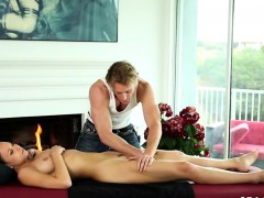 Delicate Babes On Special Massage Bed