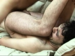 Kinky Brunette Boy Has A Hung Guy Plowing His Tight Anal Hole Bareback