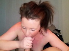 Experienced Cougar Eating His Tasty Jizz