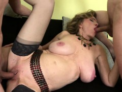 young-guys-sharing-a-busty-shaved-mature