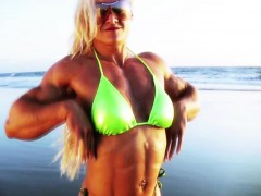 Amazing Muscle Babe Showing Off Outdoors