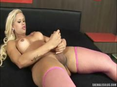 Beautiful Shemale Jerking Off
