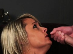 Unusual Beauty Gets Cumshot On Her Face Swallowing All The J